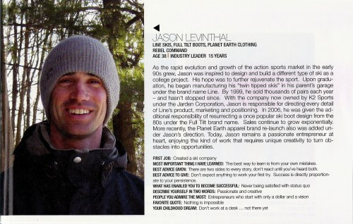 Sporting Goods Business 40 under 40 Jason Levinthal Line Skis pg3