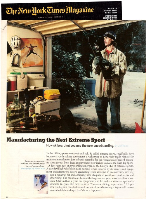 New York Times Magazine article Jason Levinthal & Line Skis pg1